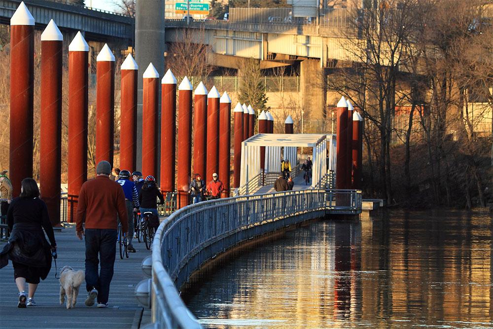 Walking on the Eastbank Esplanade trail in Portland [photo courtesy of Ian Sane]
