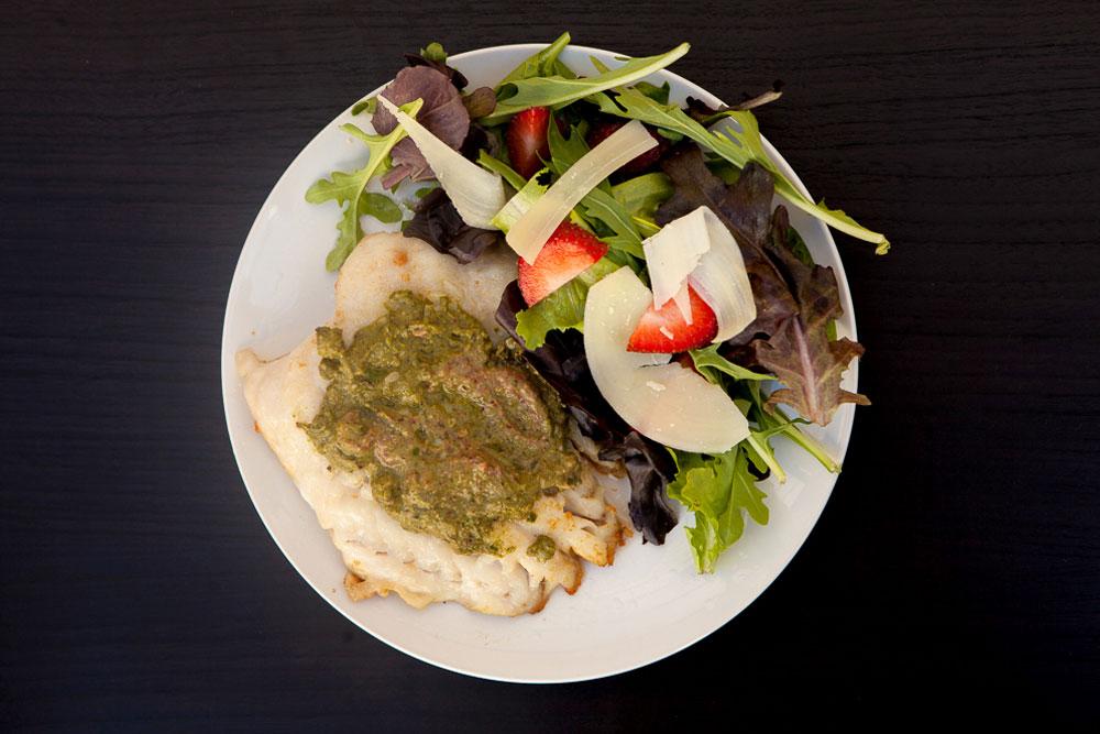 Strawberry Pesto on Grilled Rockfish