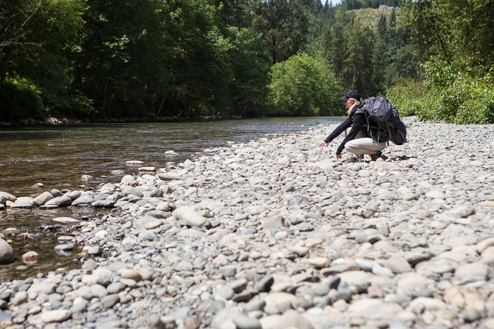 Hiker near River